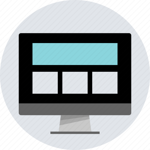 design, grid, layout, monitor, pc, responsive, wireframe icon