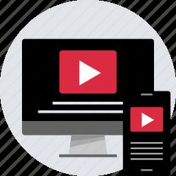 creative, design, desktop, mobile, responsive, youtube icon