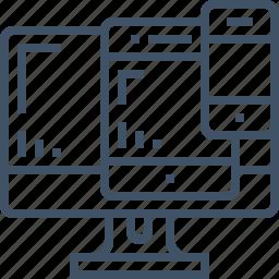 cross, design, layout, multiple, platform, responsive, screen icon