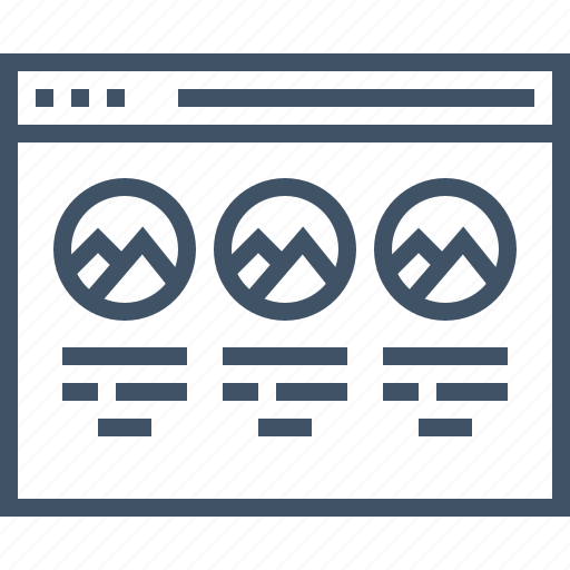 browser, column, design, layout, responsive, three, website icon