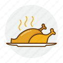 chicken, dish, food, plate, restaurant, roast icon