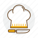 chef, cook, cooking, hat, knife, restaurant icon