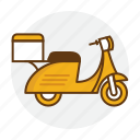 delivery, food, motorcycle, scooter, service icon