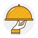 food, hand, restaurant, service, tray, waiter icon