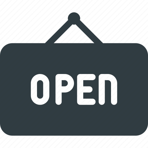 hanger, open, sign icon