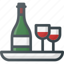 dinner, restaurant, romantic, tray, vine icon