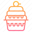 cake, cup, dessert, element, restaurant icon