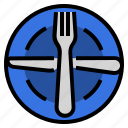 cutlery, etiquette, manners, plate, ready, restaurant, utensils icon