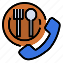 call, meal, mobile, order, reservation, restaurant icon