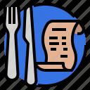 bills, check, etiquette, manners, pay, restaurant, utensils icon