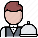 cafe, cloche, food, lunch, restaurant, tray, waiter icon