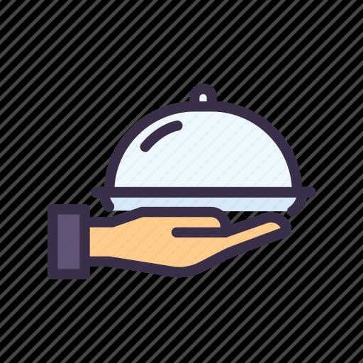 cover, food, restaurant, serve, waiter, waitress icon