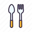 fork, kitchen, restaurant, spoon icon