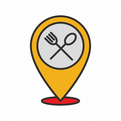 find, food, location, map, restaurant, search icon