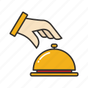 bell, hand, hotel, order, restaurant, service icon