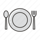 fork, plate, restaurant, setting, spoon, table icon