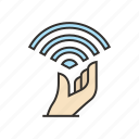 free, hand, internet, signal, wifi, wireless icon