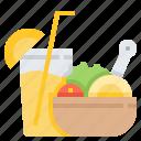 dinner, evening, food, juice, meal