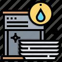 appliance, dishwasher, machine, plates, wash icon