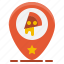 fast, food, location, map, pin, pizza, restaurant icon