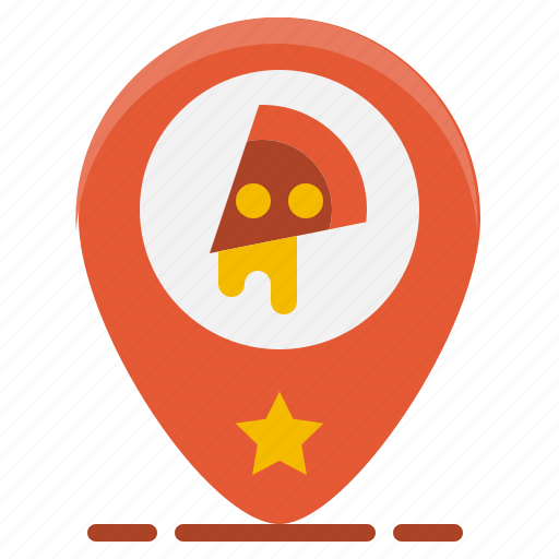 food, gps, location, map, pin, pizza, restaurant icon