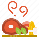 food, healthy, pork, roast, vegetable icon