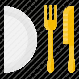dish, element, fork, kitchen, knife, restaurant, tool icon