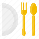 dish, element, fork, kitchen, restaurant, spoon, tool icon