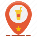 beverage, coffee, drink, pin, restaurant, shop, store icon