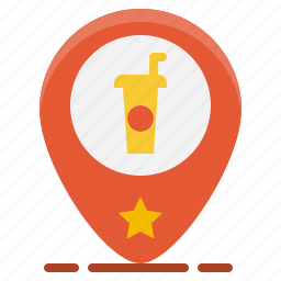beverage, coffee, direction, drink, navigation, pin, shop icon