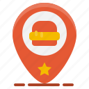 fast, food, gps, hamburger, location, map, pin icon