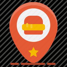 fast, food, gps, hamburger, location, map, pin icon