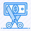 price reduction, bargain, cutting, cut price, cost minimize icon