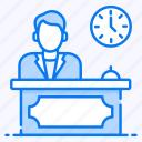 customer services, front desk, help center, reception, restaurant reception icon