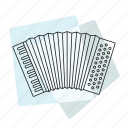 accordion, jazz, music, musical instrument, pastel, retro icon