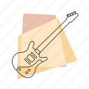 bass guitar, jazz, music, musical instrument, pastel, retro, string instrument icon
