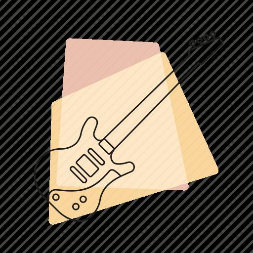 bass guitar, jazz, music, musical instrument, pastel, retro, string instrument icon
