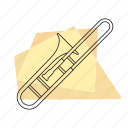 brass, jazz, music, musical instrument, pastel, retro, trombone icon