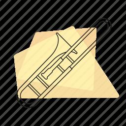 brass, jazz, music, musical instrument, pastel, retro, trombone icon