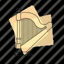 pastel, musical instrument, jazz, string instrument, music, retro, harp