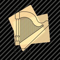 harp, jazz, music, musical instrument, pastel, retro, string instrument icon