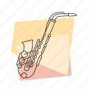 brass, jazz, music, musical instrument, pastel, retro, saxophone icon