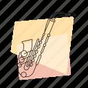 brass, jazz, music, musical instrument, pastel, retro, saxophone