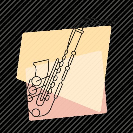 brass, jazz, music, musical instrument, pastel, retro, saxophone icon