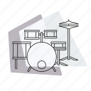 drum set, jazz, music, musical instrument, pastel, percussion, retro icon
