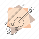 jazz, music, musical instrument, pastel, retro, string instrument, violin icon