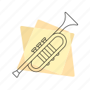brass, jazz, music, musical instrument, pastel, retro, trumpet icon