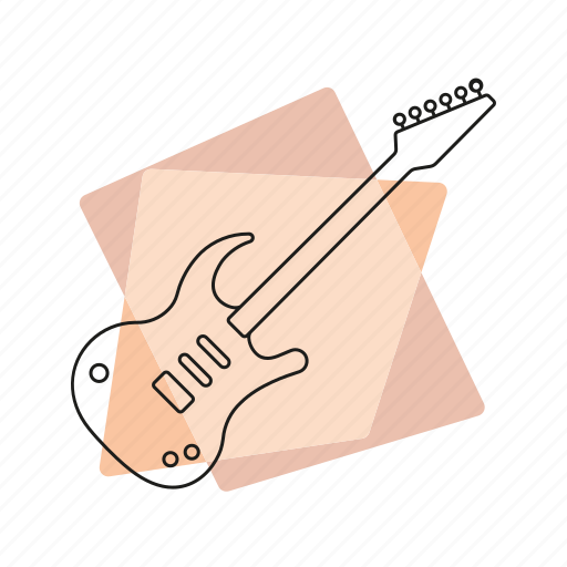 electric guitar, jazz, music, musical instrument, pastel, retro, string instrument icon
