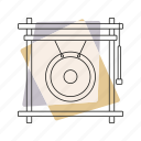 gong, jazz, music, musical instrument, pastel, percussion, retro icon