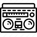 audio, boombox, music, outline, retro, tech icon